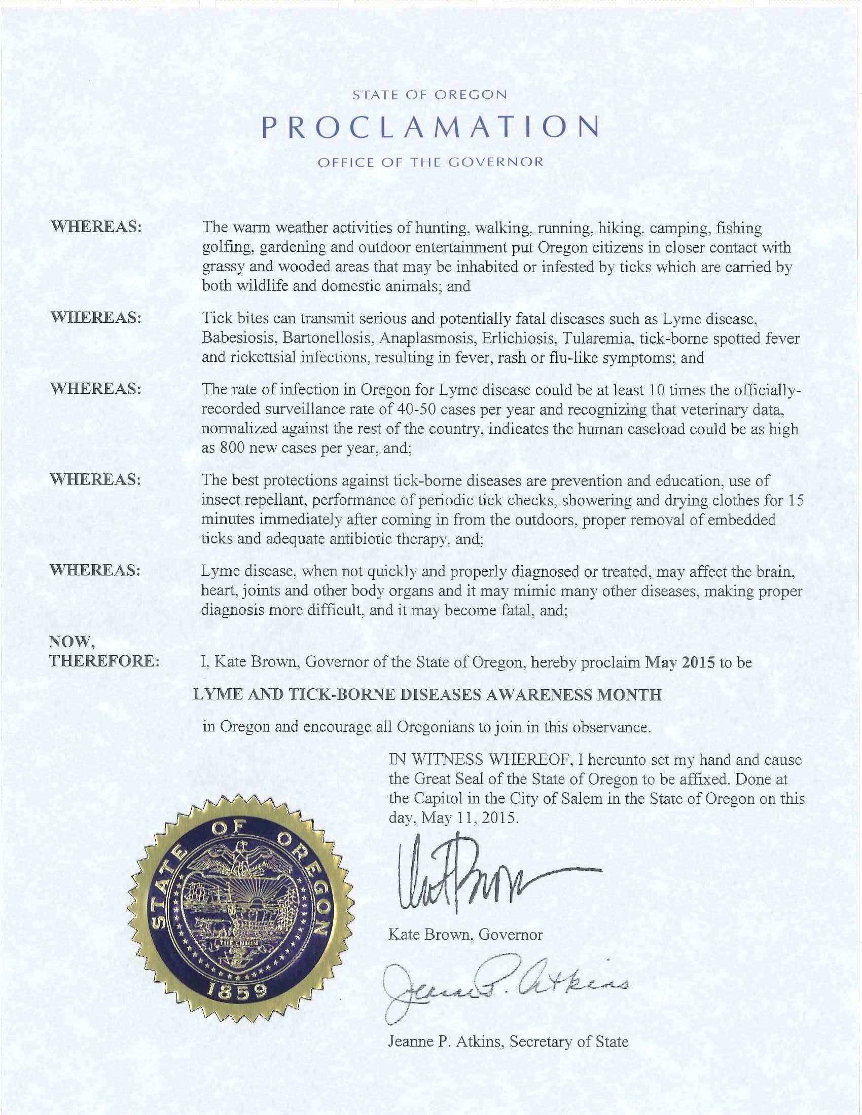 2015 Oregon Lyme Aware Month Seal2