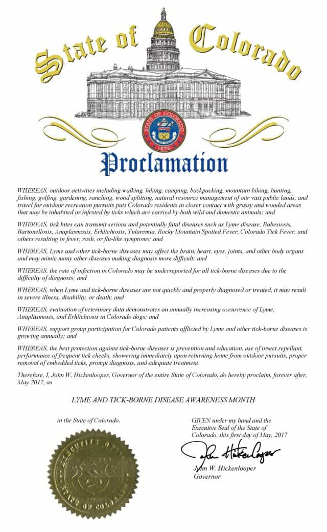 Colorado May Lyme Disease Awareness Proclamation 2017