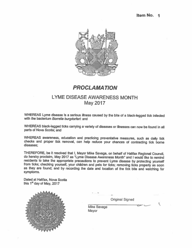 Canada Nova Scotia Halifax May Lyme Disease Awareness Proclamation 2017