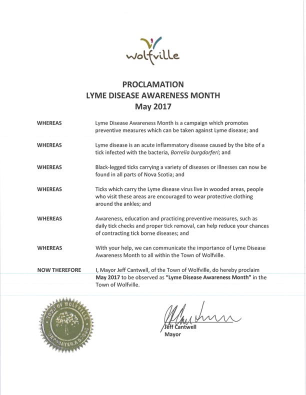Canada Nova Scotia Wolfville May Lyme Disease Awareness Proclamation 2017