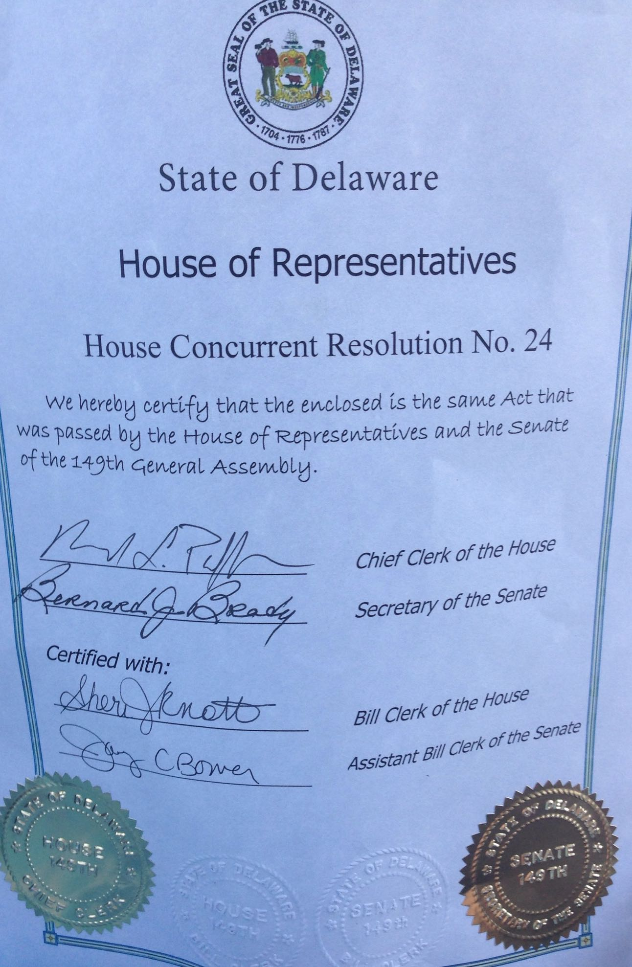 Delaware May Awareness House Resolution Certificate