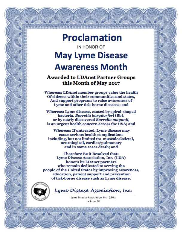 LDA May Lyme Disease Awareness Proclamation 2017