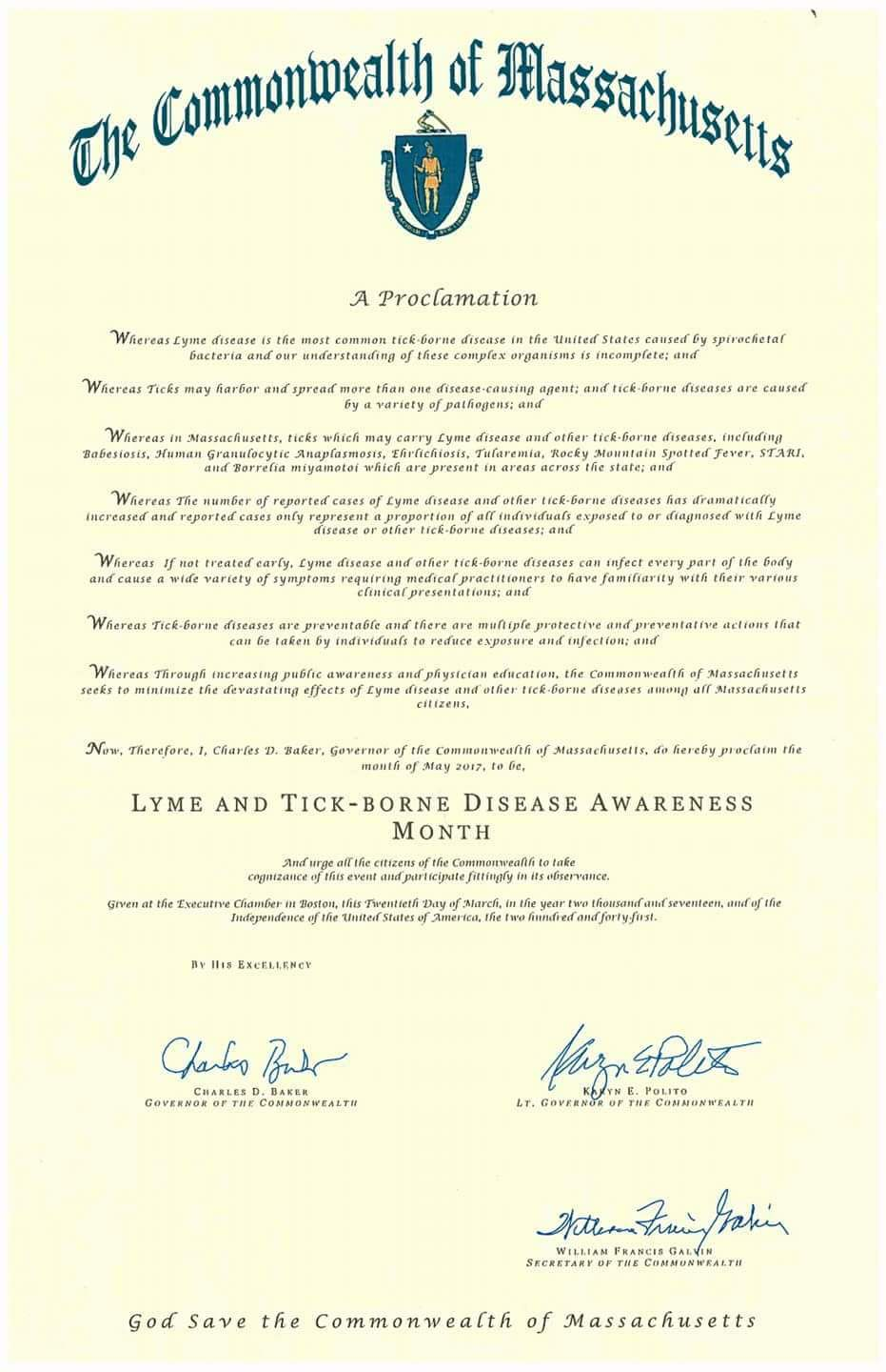 Massachusetts May Lyme Disease Awareness Proclamation 2017