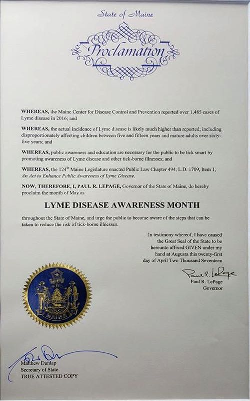 Maine May Lyme Disease Awareness Proclamation 2017