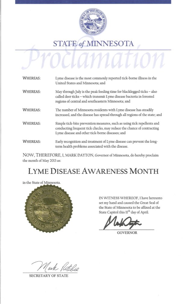 Minnesota May Lyme Disease Awareness Proclamation 2017