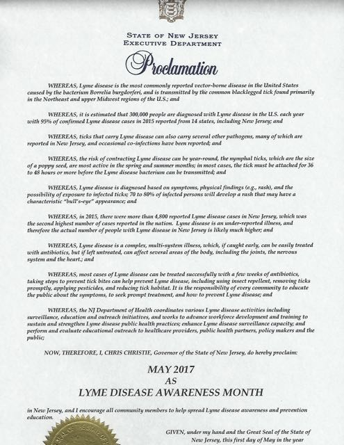 New Jersey May Lyme Disease Awareness Proclamation 2017