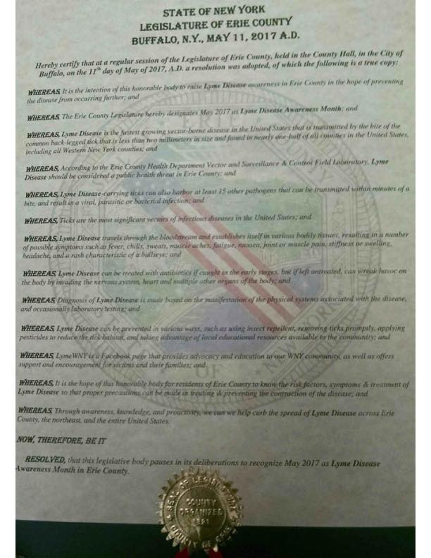 New York Erie County May Lyme Disease Awareness Proclamation