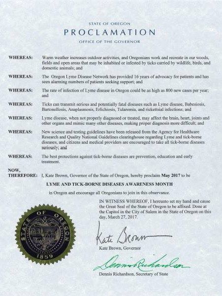 Oregon May Lyme Disease Awareness Proclamation 2017