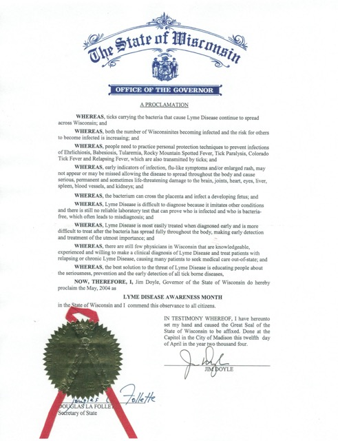 Wisconsin May Lyme Disease Awareness Proclamation 2014