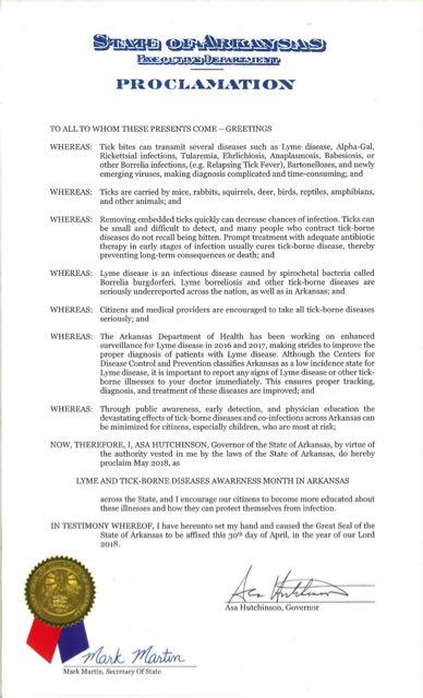 AR Lyme Proclamation 2018