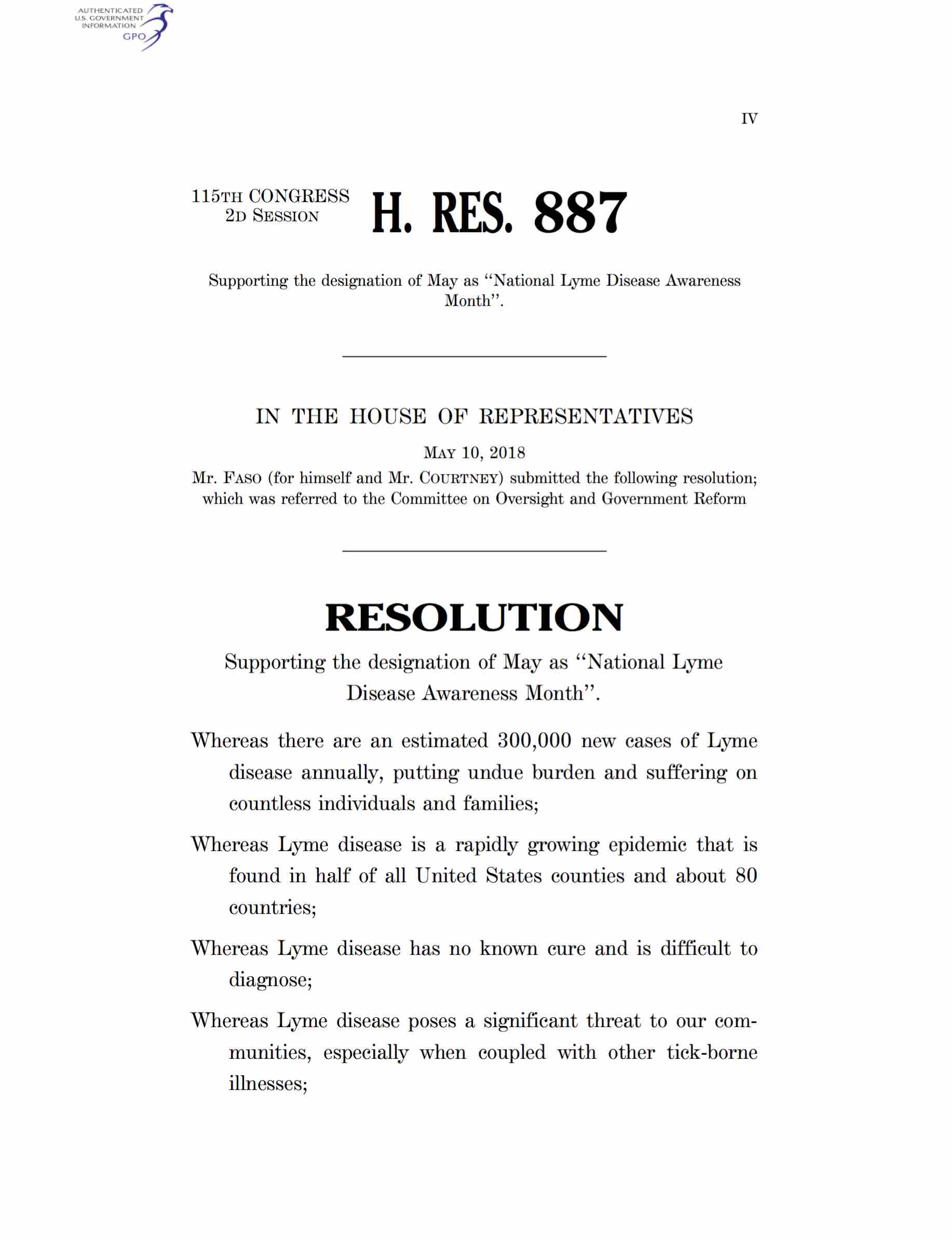 House Faso Lyme Resolution
