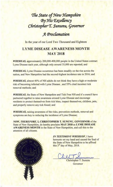 NH Lyme Proclamation 2018