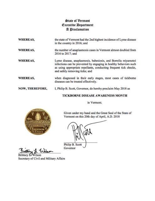 VT Lyme Proclamation 2018