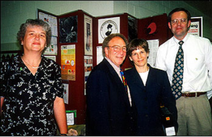 LDA celebrates 30 years - photo of Pat Smith, Dr. Nick Harris, Dr. Terry MacKnight, Corey Lakin at a Congressional Lyme Disease Forum 1999